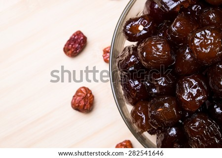 Dried preserved. Sweet syrup monkey apple - stock photo