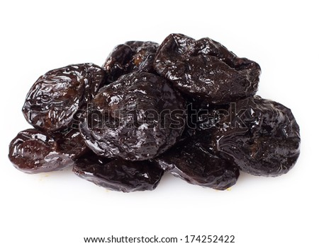 dried prunes isolated on white background - stock photo