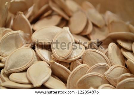 Dried pumpkin seeds - stock photo