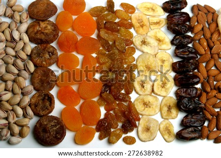Dried raisins and nuts - close up - stock photo