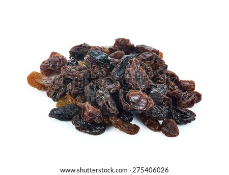 Dried raisins on a white background. - stock photo