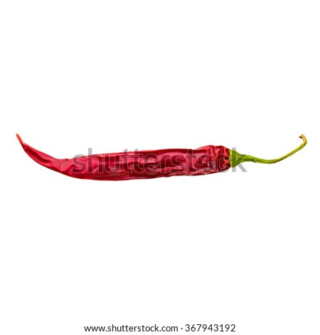 dried red chili pepper isolated on white backgroud - stock photo