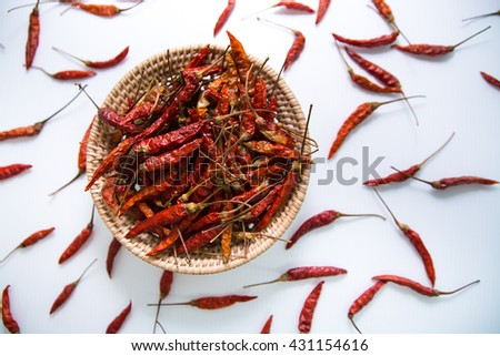 Dried red chilli PEPPER , food ingredient - stock photo