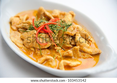 Dried red pork coconut curry (Panaeng) : Delicious and famous Thailand food - stock photo