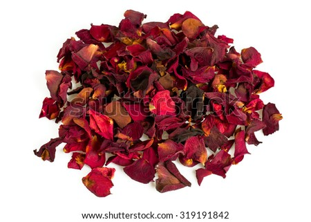 dried red rose petals - stock photo