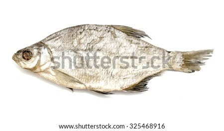 Dried river bream on a white background