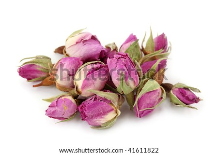 Dried roses isolated on white background - stock photo