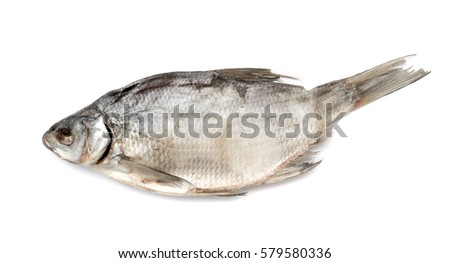 Dried salted fish on a white background