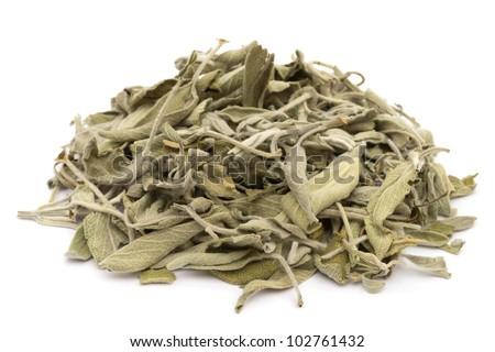 Dried salvia on white background - stock photo