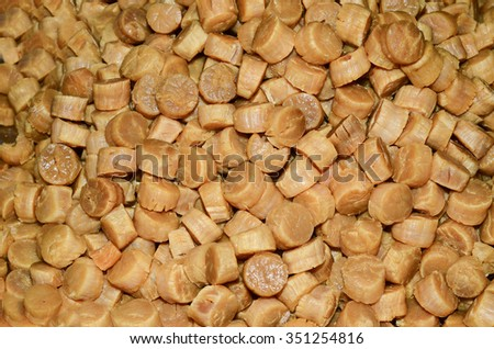 Dried seafood products in chinese culinary ingredients / Dried food background / Exclusive enhancement in chinese slow cooked soup - stock photo