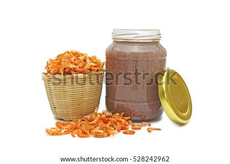 Dried shrimp and shrimp paste with isolated on white background