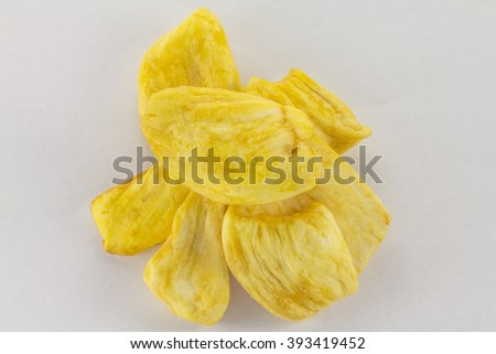Dried slices Jack fruit on a white background