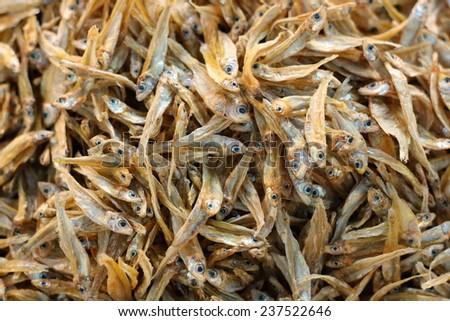 Dried Small fish - stock photo