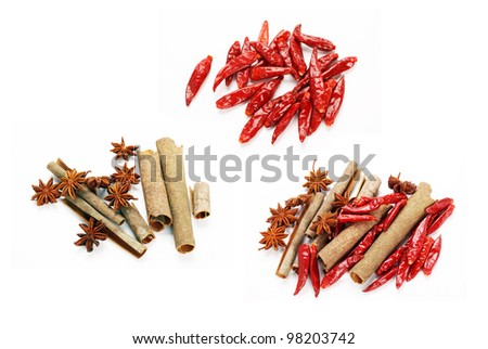 Dried Spices on the white background - stock photo