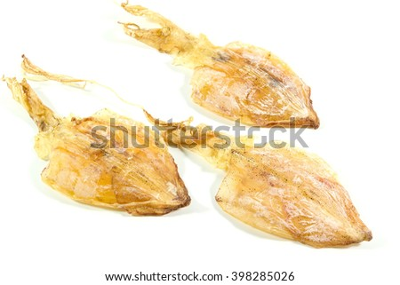 dried squid isolated on the white background