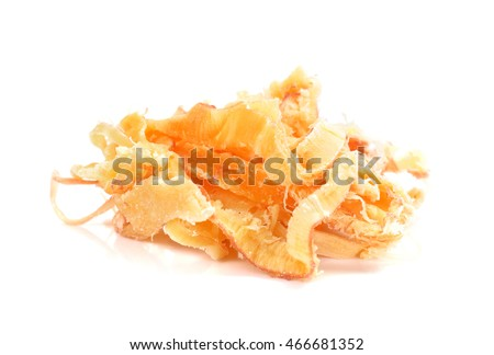 dried squid isolated on the white background. Shredded Dried