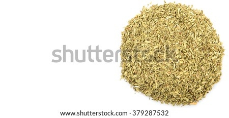 Dried tarragon herb over white background