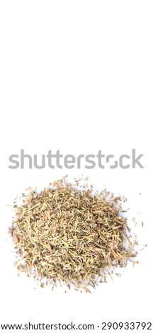 Dried thyme herbs over white background