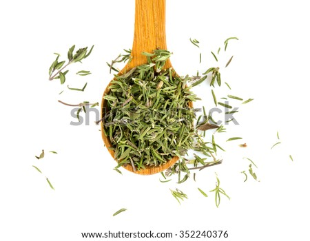 dried thyme isolated on white - stock photo