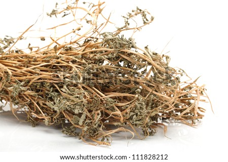 Dried thyme on white background