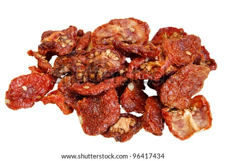 Dried tomatoes over white background - stock photo