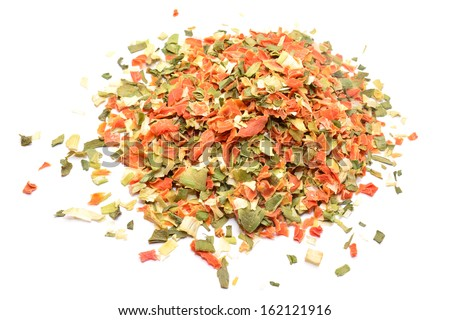 Dried vegetables isolated on white, food seasoning  - stock photo