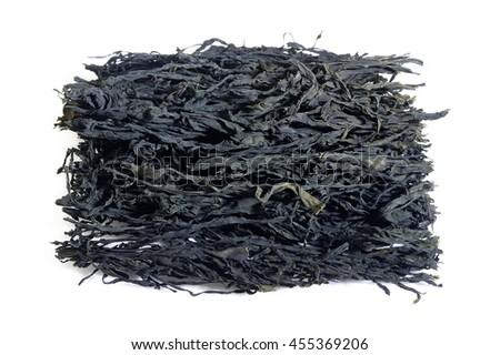 dried wakame on white backgruond - stock photo