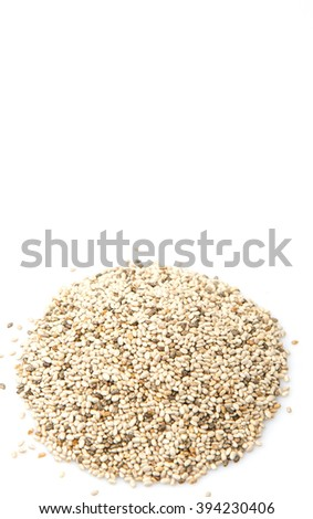 Dried white chia seed over white background