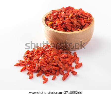 Dried wolfberry fruit isolated white background. - stock photo