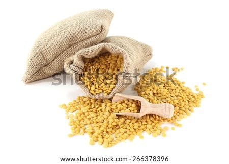 dried yellow lentils in sacks with bushels on a light background - stock photo
