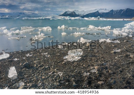 Drift ice from glacier Iceland - stock photo