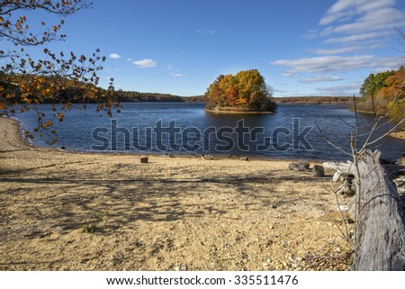 Driftwood on a gravel beach, fall foliage and lake with an island in Mansfield Hollow forest, Connecticut. - stock photo