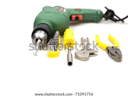 drill and other tools isolated on a white background - stock photo
