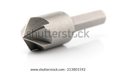 Drill bit, isolated on white background close-up  - stock photo