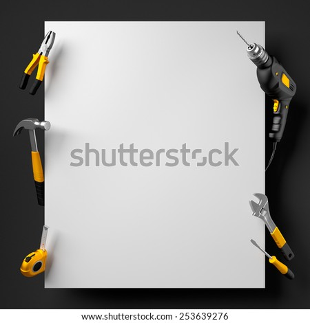 drill, pliers, hammer, wrench and construction tools on a black and white background - stock photo