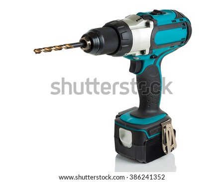 drill, screwdriver, battery on a white background.