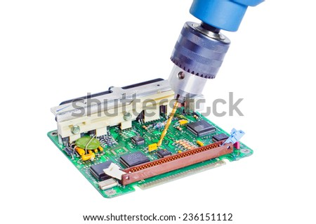 drilling and repair of the electronic engine control unit  - stock photo