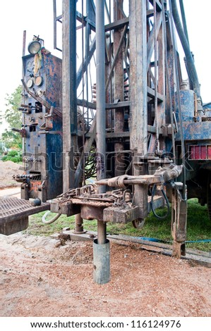 Drilling Machines for underground water in the field. - stock photo
