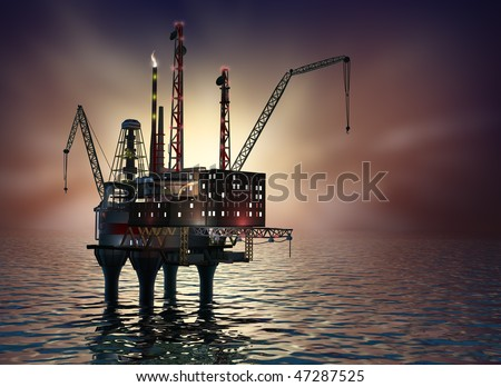 Drilling offshore Platform in night sea. 3D image. - stock photo