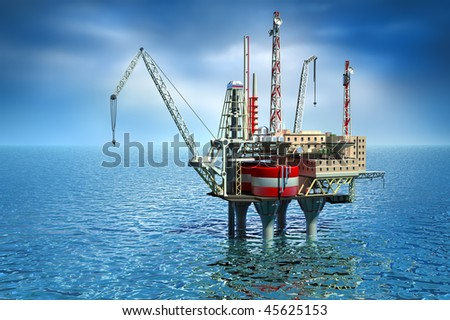 Drilling offshore Platform in sea. 3D image - stock photo