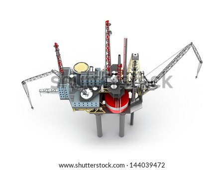 Drilling offshore Platform isolated on white - stock photo