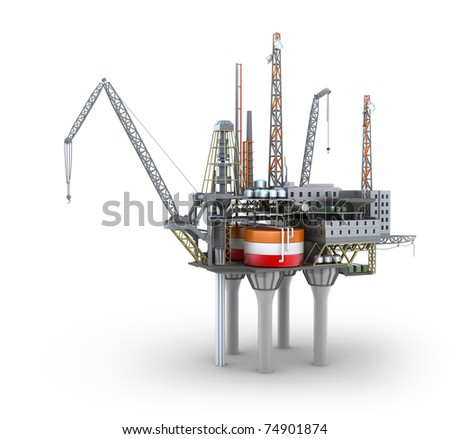 Drilling offshore Platform isolated on white