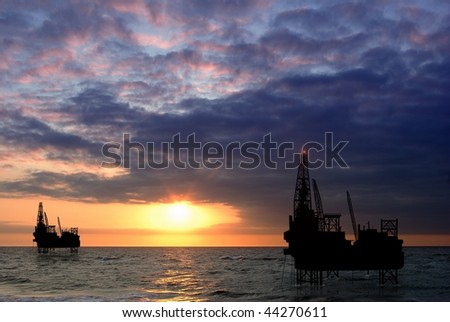 drilling platform on sea - stock photo