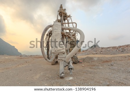 drilling ring park at the mine site - stock photo