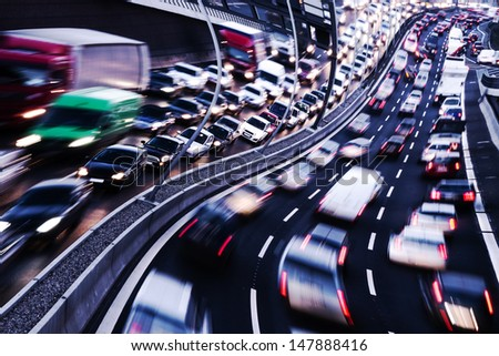 drink and drive, cars on a highway - stock photo