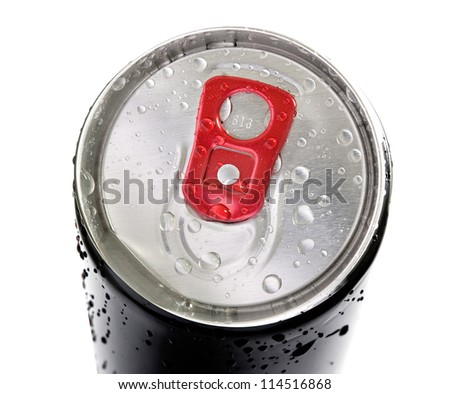 drink can with water droplets on white background