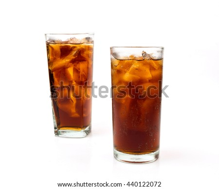 Drink cola in glass on white background