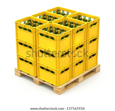 Drink crates on the wooden pallet - stock photo