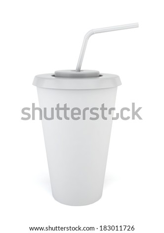 Drink cup with straw. 3d illustration on white background