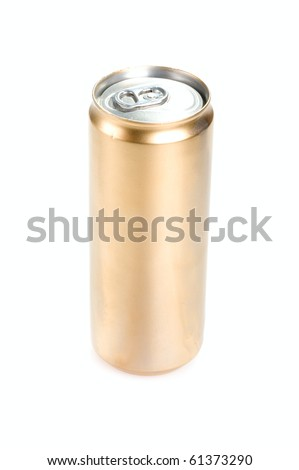 Drink gold can isolated on white background